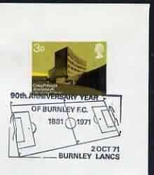 Postmark - Great Britain 1971 cover bearing illustrated cancellation for 90th Anniversary Year Burnley FC