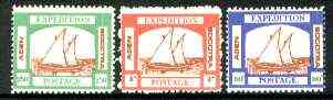 Cinderella - Aden Expedition Postage set of 3 labels depicting Arab Dhow unmounted mint
