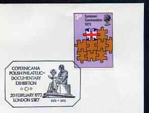 Postmark - Great Britain 1973 cover bearing illustrated cancellation for Copernicana Polish Philatelic Documentary Exhibition