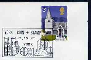 Postmark - Great Britain 1973 cover bearing illustrated cancellation for York Coin & Stamp Fair