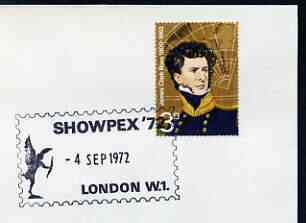 Postmark - Great Britain 1972 cover bearing illustrated cancellation for Showpex '72 showing Statue of Eros