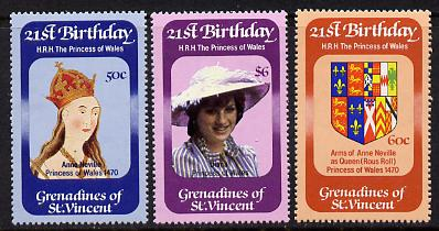 St Vincent - Grenadines 1982 Princess Di's 21st Birthday set of 3 unmounted mint (SG 229-31), stamps on royalty    diana