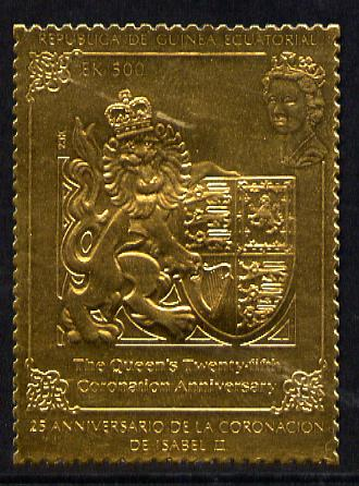 Equatorial Guinea 1978 Coronation 25th Anniversary 500ek embossed in gold foil (perf) unmounted mint