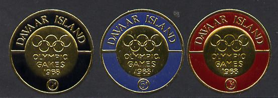 Davaar Island 1968 Olympic Games set of 3 coin shaped in gold Foil unmounted mint