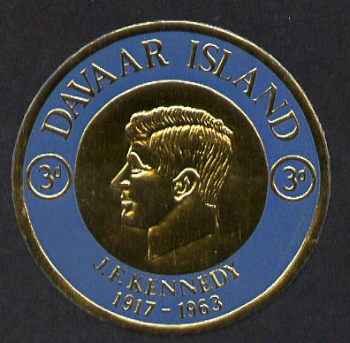 Davaar Island 1965 J F Kennedy 3d coin shaped in gold foil with background colour in blue instead of green unmounted mint (as Rosen D33)