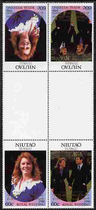Tuvalu - Niutao 1986 Royal Wedding (Andrew & Fergie) 60c with 'Congratulations' opt in gold in unissued perf tete-beche inter-paneau block of 4 (2 se-tenant pairs) unmounted mint from Printer's uncut proof sheet