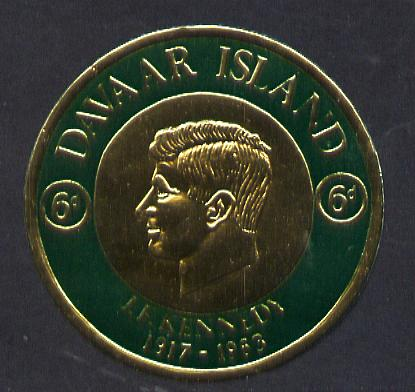 Davaar Island 1965 J F Kennedy 6d coin shaped in gold foil with background colour in green instead of mauve unmounted mint (as Rosen D34)