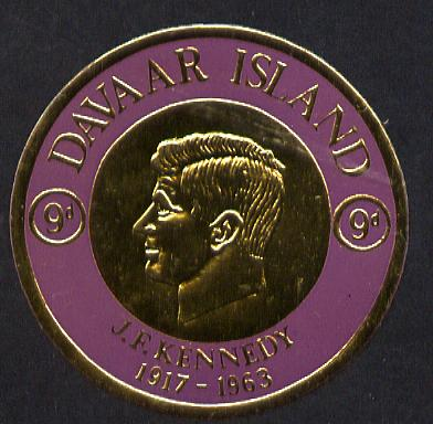 Davaar Island 1965 J F Kennedy 9d coin shaped in gold foil with background colour in mauve instead of black unmounted mint (as Rosen D35)