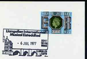 Postmark - Great Britain 1977 card bearing illustrated cancellation for Llangollen International Musical Eisteddfod