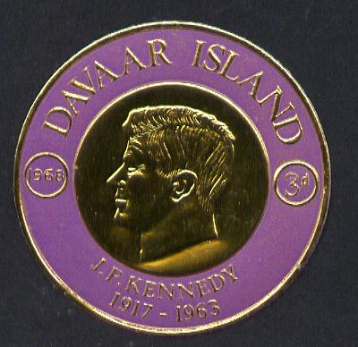 Davaar Island 1968 J F Kennedy 3d coin shaped in gold foil with background colour in mauve instead of blue unmounted mint (as Rosen D118)