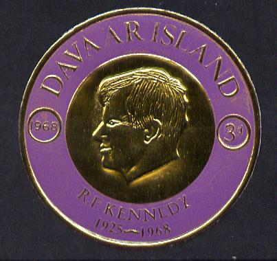 Davaar Island 1968 Robert Kennedy 3d coin shaped in gold foil with background colour in mauve instead of blue unmounted mint (as Rosen D122)
