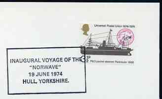 Postmark - Great Britain 1974 card bearing special cancellation for Inaugural Voyage of the 'NORWAVE', Hull