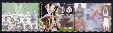 Paraguay 2002 Centenary of 'Club Olympia' Footbal Club unmounted mint se-tenant with 2 labels showing other Sports (only 15,000 produced)