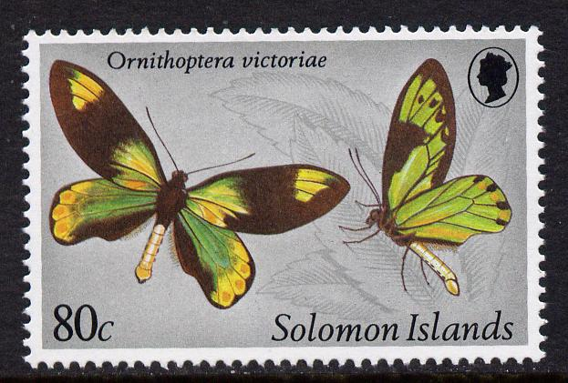 Solomon Islands 1980 80c Ornithoptera Victoriae Butterfly with watermark sideways inverted unmounted mint (SG 429Ei) Gutter pairs available price x 2