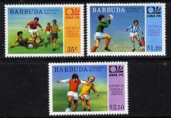 Barbuda 1974 World Cup Football Winners perf set of 3 (unissued with names of teams) unmounted mint