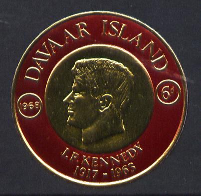 Davaar Island 1968 J F Kennedy 6d coin shaped in gold foil with background colour in red instead of green unmounted mint (as Rosen D119)