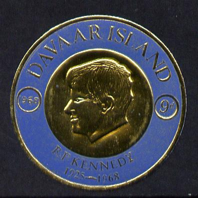 Davaar Island 1968 J F Kennedy 9d coin shaped in gold foil with background colour in blue instead of red unmounted mint (as Rosen D120)