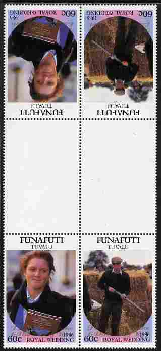 Tuvalu - Funafuti 1986 Royal Wedding (Andrew & Fergie) 60c with 'Congratulations' opt in gold in unissued perf tete-beche inter-paneau block of 4 (2 se-tenant pairs) unmounted mint from Printer's uncut proof sheet