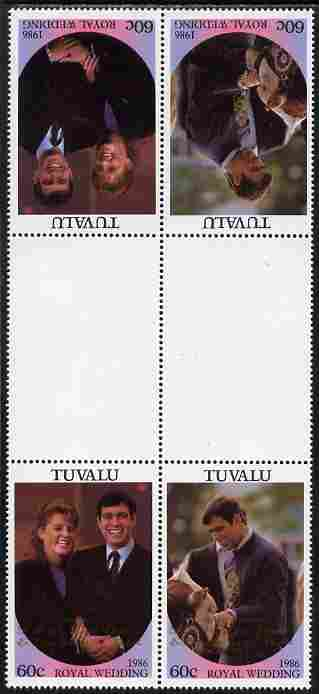 Tuvalu 1986 Royal Wedding (Andrew & Fergie) 60c with 'Congratulations' opt in gold in unissued perf tete-beche inter-paneau block of 4 (2 se-tenant pairs) with overprint inverted on one pair unmounted mint from Printer's uncut proof sheet, minor wrinkles