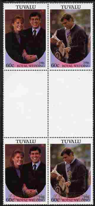 Tuvalu 1986 Royal Wedding (Andrew & Fergie) 60c with 'Congratulations' opt in gold in unissued perf inter-paneau block of 4 (2 se-tenant pairs) with overprint inverted on one pair unmounted mint from Printer's uncut proof sheet, minor wrinkles