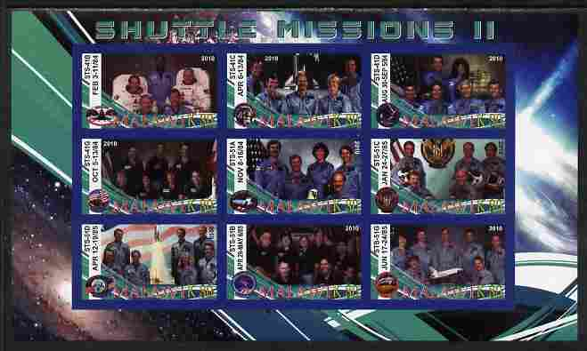Malawi 2010 Space Shuttle Missions #02 imperf sheetlet containing 9 values unmounted mint
