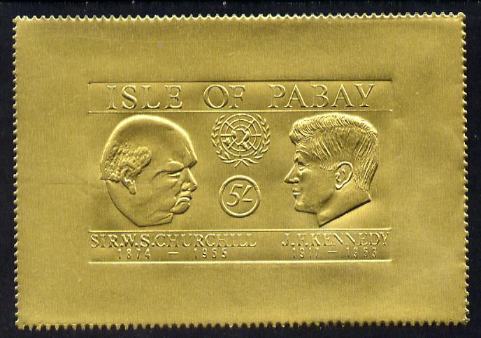Pabay 1967 Churchill & Kennedy 5s larger format embossed in gold foil unmounted mint (Rosen PA65)