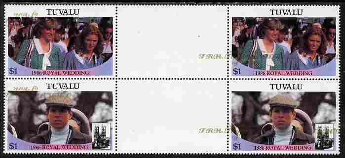 Tuvalu 1986 Royal Wedding (Andrew & Fergie) 60c with 'Congratulations' opt in gold in unissued perf inter-paneau block of 4 (2 se-tenant pairs) with overprint misplaced & inverted on one pair unmounted mint from Printer's uncut proof sheet