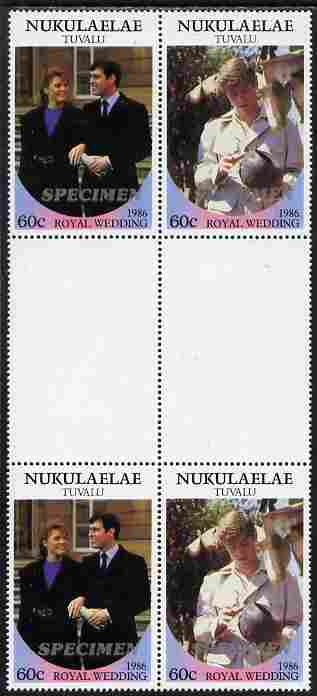 Tuvalu - Nukulaelae 1986 Royal Wedding (Andrew & Fergie) 60c perf inter-paneau gutter block of 4 (2 se-tenant pairs) overprinted SPECIMEN in silver (Italic caps 26.5 x 3 mm) unmounted mint from Printer's uncut proof sheet