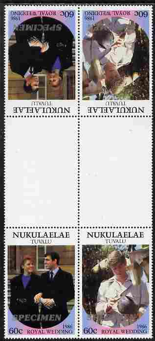 Tuvalu - Nukulaelae 1986 Royal Wedding (Andrew & Fergie) 60c perf tete-beche inter-paneau gutter block of 4 (2 se-tenant pairs) overprinted SPECIMEN in silver (Italic caps 26.5 x 3 mm) unmounted mint from Printer's uncut proof sheet