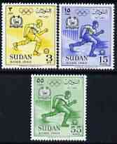 Sudan 1960 Rome Olympic Games perf set of 3 unmounted mint, SG 155-57, stamps on olympics, stamps on football, stamps on sport