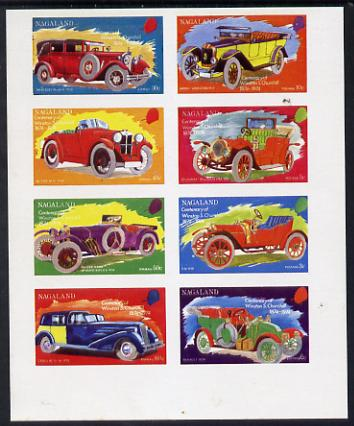 Nagaland 1974 Vintage Cars (Churchill Birth Centenary) imperf set of 8 values (2c to 60c) unmounted mint