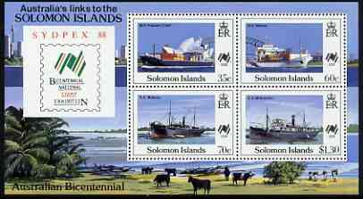 Solomon Islands 1988 Bicentenary of Australian Settlement & Sydpex '88 Stamp Exhibition perf m/sheet unmounted mint, SG MS 630