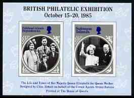 Exhibition souvenir sheet for 1985 British Philatelic Exhibition showing imperf Queen Mother stamps from Falklands & Solomon Is, unmounted mint