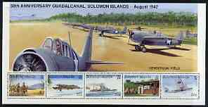 Solomon Islands 1992 50th Anniversary of Battle of Guadalcanal perf sheetlet #1 containing 5 values unmounted mint, SG 733a
