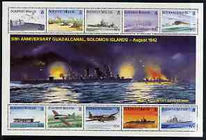 Solomon Islands 1992 50th Anniversary of Battle of Guadalcanal perf sheetlet #2 containing 10 values unmounted mint, SG 738a