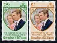 St Vincent - Grenadines 1973 Royal Wedding set of 2 unmounted mint, SG 1-2