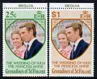 St Vincent - Grenadines 1973 Royal Wedding marginal set of 2 unmounted mint with BEQUIA printed in margin
