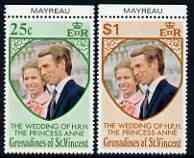 St Vincent - Grenadines 1973 Royal Wedding marginal set of 2 unmounted mint with MAYREAU printed in margin