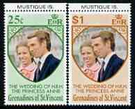 St Vincent - Grenadines 1973 Royal Wedding marginal set of 2 unmounted mint with MUSTIQUE IS printed in margin