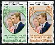 St Vincent - Grenadines 1973 Royal Wedding marginal set of 2 unmounted mint with PRUNE IS printed in margin, stamps on royalty, stamps on anne, stamps on mark