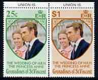 St Vincent - Grenadines 1973 Royal Wedding marginal set of 2 with UNION IS printed in margin unmounted mint