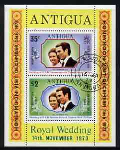 Antigua 1973 Royal Wedding m/sheet opt'd for 'Honeymoon Visit' fine cds used, SG MS 375
