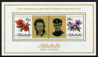 Cook Islands - Aitutaki 1973 Royal Wedding perf m/sheet unmounted mint, SG MS 84