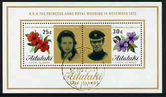Cook Islands - Aitutaki 1973 Royal Wedding perf m/sheet fine cds used, SG MS 84