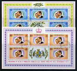 Dominica 1973 Royal Wedding set of 2 each in sheetlets of 5 plus label fine cds used