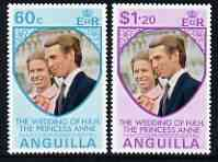 Anguilla 1973 Royal Wedding set of 2 unmounted mint, SG 165-66