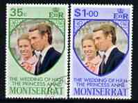 Montserrat 1973 Royal Wedding set of 2 fine cds used, SG 322-23