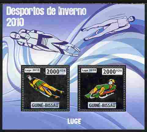 Guinea - Bissau 2010 Winter Olympic Sports - Luge perf sheetlet containing 2 values in silver unmounted mint