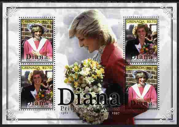 Grenada 2010 Princess Diana #1 perf sheetlet containing 4 values unmounted mint