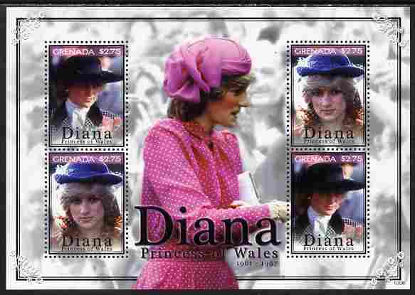 Grenada 2010 Princess Diana #2 perf sheetlet containing 4 values unmounted mint